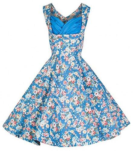 Eyekepper vestido de epoca de los años 50 envuelta en el pecho Peonia Solida oscilacion Azul