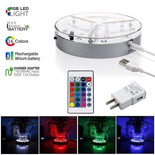 Multi Color Led Light Base For Vases