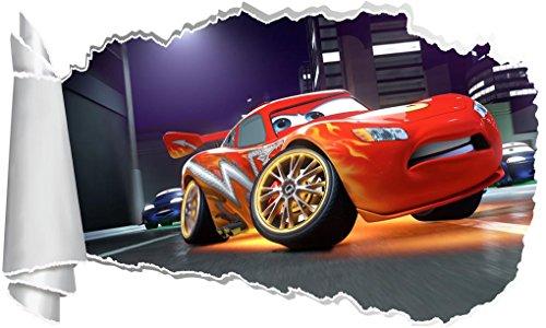 Cars Movie Lightning Mcqueen 3D Torn Hole Ripped Wall Sticker Decal Disney WT289, Mini -