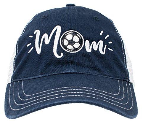 Ann Arbor T-shirt Co. Soccer Mom Hat | Cute Team Color Fan Cap for Women Black Red Blue Green Purple - Navy