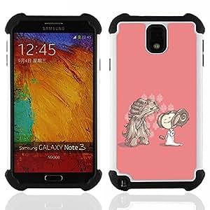 - cartoon character drawing pink dog girl/ H??brido 3in1 Deluxe Impreso duro Soft Alto Impacto caja de la armadura Defender - SHIMIN CAO - For Samsung Galaxy Note3 N9000 N9008V N9009