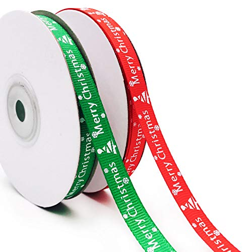 Fabric Merry Christmas (Aozer 50 Yards Merry Christmas Fabric Ribbon Silk Satin Roll for Christmas Gift Package Wrapping Ribbon 2 Colors (10 mm Wide))