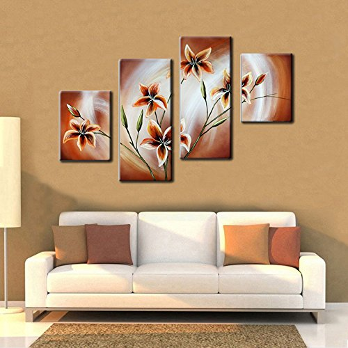Noah Art-Contemporary Paintings of Flowers, Blooming Gold Tulip Picture