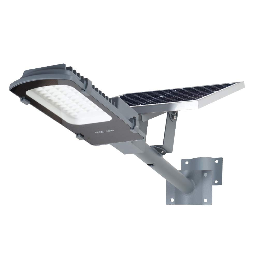 Gebosun LED 30W Solar Flood Outdoor Street Lights,IP65 Waterproof Dusk to Dawn Security Area Light 3000 Lumen 6000K for Yard, Garden, Warehouse, Swimming Pool, Pathway, Basketball Court.