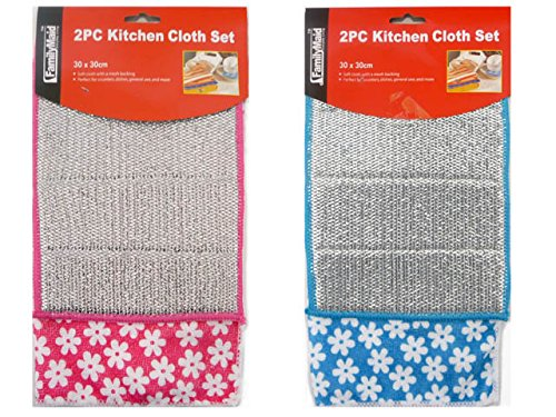 KITCHEN CLOTH 2PC W/MESHA 30X30CM, Case of 144