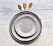 Handmade Pottery Plates Set - Speckled white matte Organic Shape Textured Plates - Stoneware Plates - Stonewar