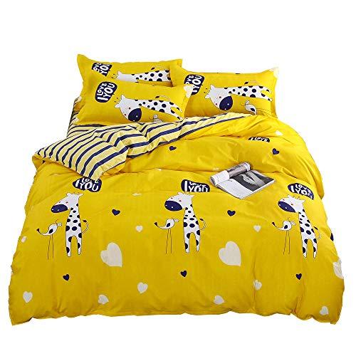 - LuDan 3pcs Kids Children Beddingset Duvet Cover Set Duvet Cover No Comforter Pillowcases Twin Full Queen Yellow Giraffe (Giraffe, Twin)