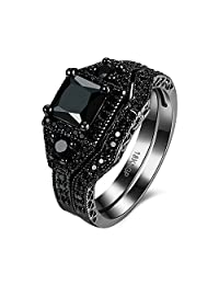 Eternity Love Wedding Bands Women's 18K Black Gold Plated Rings Princess Cut Purple/Black/Pink CZ Crystal Engagement Rings Best Promise Rings Anniversary Wedding Rings for Lady Girl