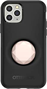 Otter + Pop for iPhone 11 Pro: OtterBox Symmetry Series Case with PopSockets Swappable PopTop - Black and Metallic Diamond Rose Gold