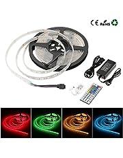 Hirosa Tiras de LED RGB 5M SMD5050 12V 3600LM IP68 Impermeable Tira flexible multicolor +Mando a distancia 44 teclas +Fuente de alimentación +Receptor y conectores (LED que se pueden cortar)