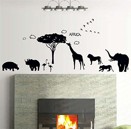 Rhino Flying - ufengke home African Safari Silhouette Wall Art Stickers Tree, Lion, Leopard, Giraffe, Rhino, Flying Birds Removable DIY Vinyl Wall Decals Decorative Mural for Living Room, Bedroom, Family Wall