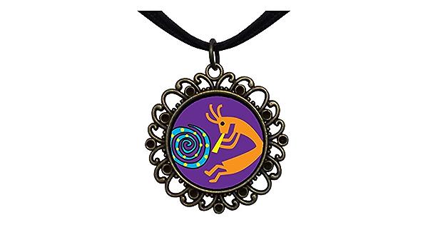 GiftJewelryShop Bronze Retro Style Kokopelli Dance Heart Shaped Pendant Charm Necklaces
