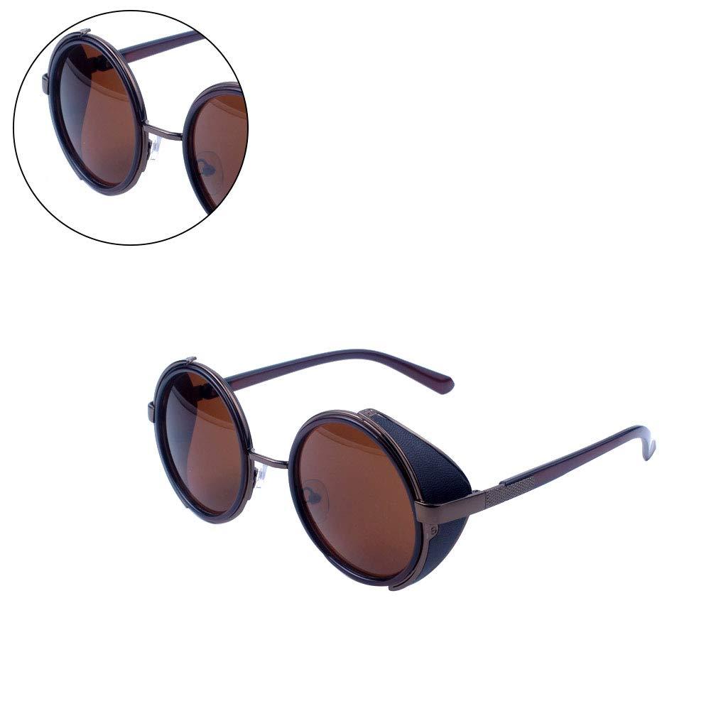 TrifyCore Retro stile di Steampunk occhiali da sole rotondi del cerchio del metallo polarizzato occhiali da sole vintage piccolo specchio Occhiali UV occhiali di protezione per le donne Luce Golden