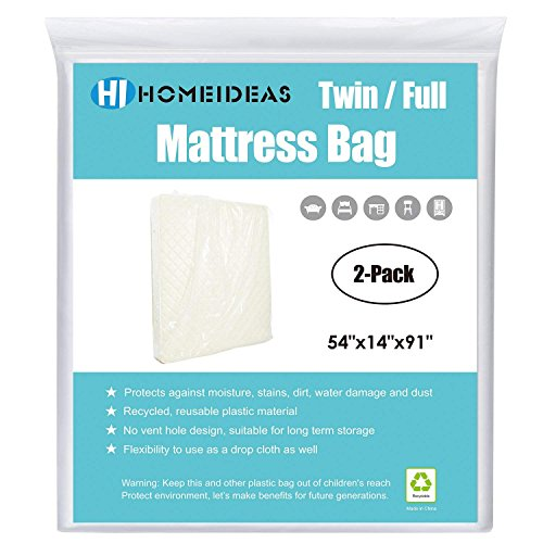 - HOMEIDEAS 2-Pack Extra Thick Mattress Bag for Moving and Storage,Fits Twin/Full Size