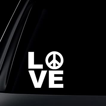 Love w peace sign car decal sticker