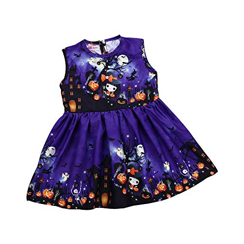 baskuwish Halloween Clothes,Toddler Kids Baby Girls Cartoon Pumpkin Print Sleeveless Princess Dress (80, Purple) ()