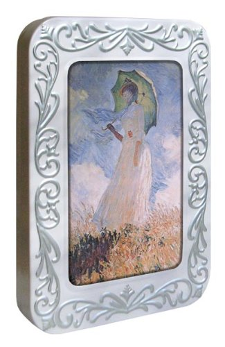 Tree-Free Greetings Noteables Notecards In Reusable Embossed Tin, 12 Card Assortment, Recycled, 4 x 6 Inches, Monet Woman with Parasol, Multi Color (76114)