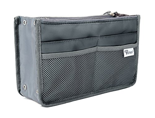 Periea Purse Organizer Insert Handbag Organizer - Chelsy - 28 Colors Available - Small, Medium or Large (Grey, Small)
