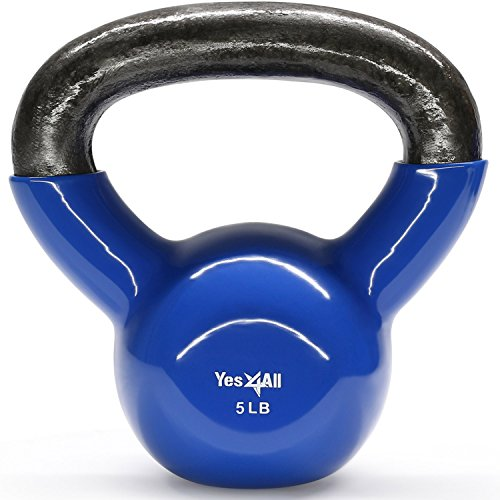 Yes4All Vinyl Coated Kettlebell Weights Set – Great for Full Body Workout and Strength Training – Vinyl Kettlebell 5 lbs by Yes4All (Image #6)