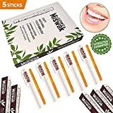 GOWO 5 Pack Miswak Sticks and Holders - Natural Teeth Whitening Kit - Natural Toothbrush - No Toothpaste Needed - Herbal Teeth Whitener and Breath Freshener - (Includes 5 Sticks and 5 Holders)