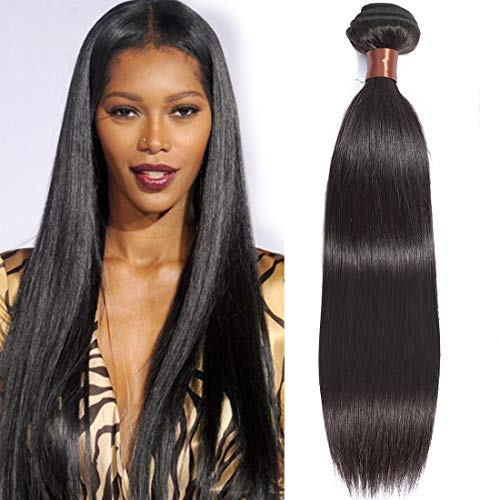 Angie Queen Hair Peruvian Virgin Hair Straight 100% Unprocessed Virgin Human Hair Extensions More Thicker 20 Inch One Bundle 100G Nature Black Color(One Bundle) from Angie Queen