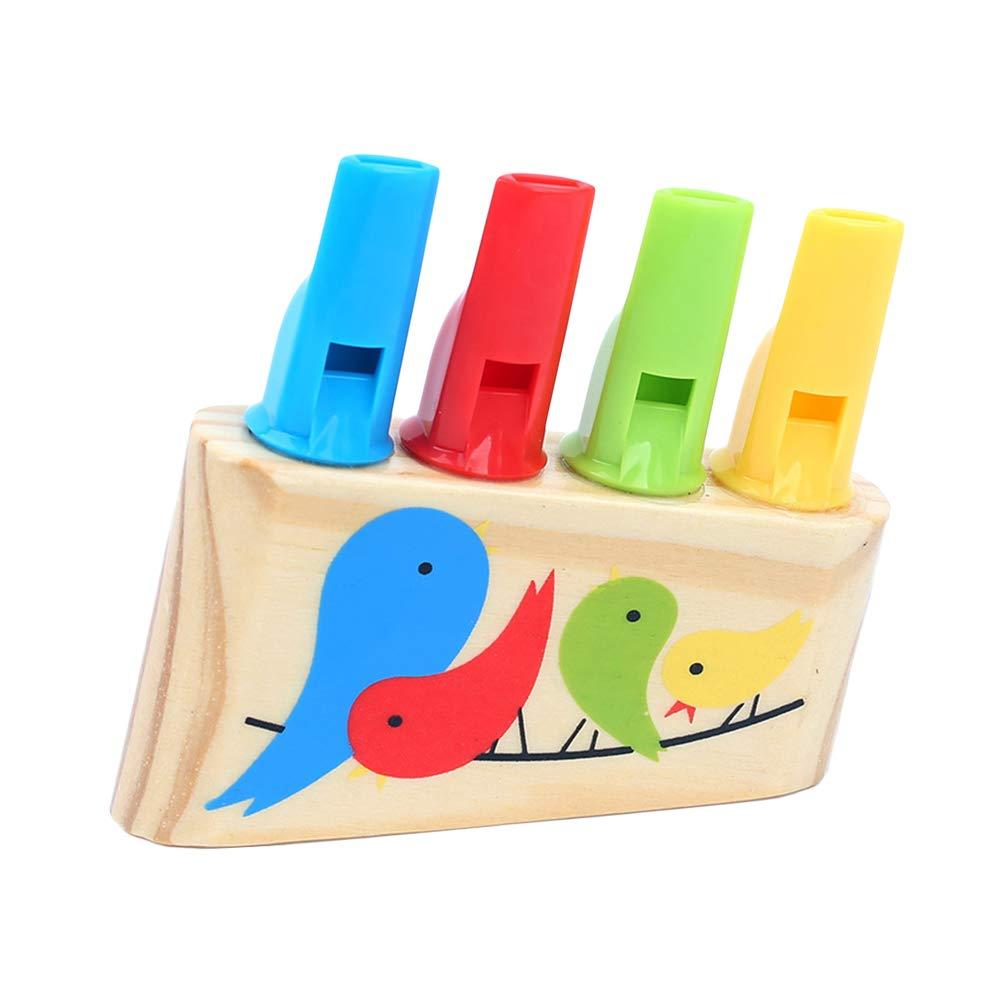 STOBOK 1pc Legno Cartoon Uccelli Fischi Fischi Sportivi Giocattolo Strumento Musicale Fila fischio Suoni Giocattolo per Bambini Bambini bomboniere