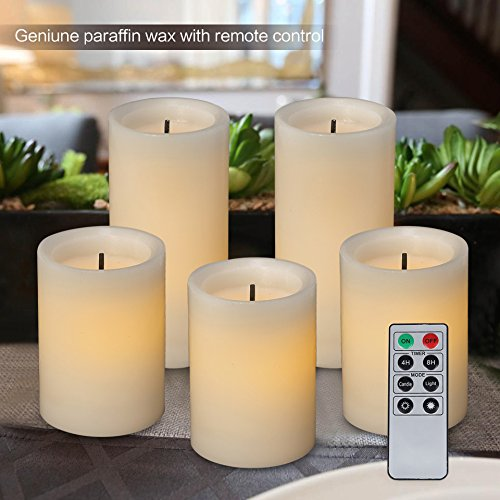 """Classic Candle Pillar (NARA ONE Flameless Candles,5pcs Set (4""""x3 pcs and 6""""x2 pcs) Real Wax Pillar Candles with Remote Control Timer Classic Design Luminara Bettery Operated Led Candles(Ivory))"""