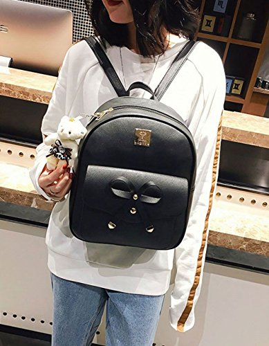 3 for Women Purse Pieces Backpack Backpack Mini Girls Black Fahsion Leather Bowknot 5znZqvA7