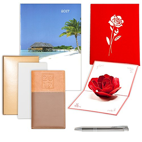 Mothers Day Gift Set 2017 Calendar | Pocket Organizer, Monthly Date Planner, Chrome Trim Pen, Notepad & 3D Popup Card | Personalize for any other Occasion Birthday Graduation Anniversary (Island) (Asian Girls Calendar)