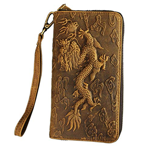 - Le'aokuu Unisex Genuine Leather Bifold Wallet Purse Organizer Dragon Embossed (Brown)