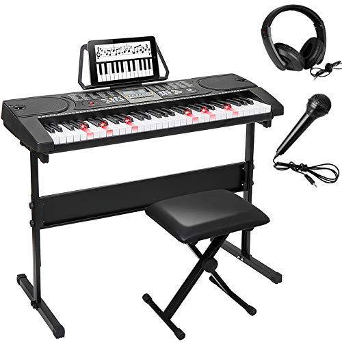 Smartxchoices 61-Key Portable Electronic Keyboard Piano LCD Display Lighten Keyboard Kit w/Adjustable Stand, Stool, Headphones, Microphone & Sticker Sheet