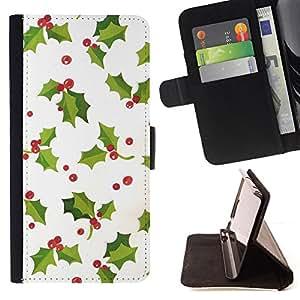 - mistletoe Christmas winter white green - - Prima caja de la PU billetera de cuero con ranuras para tarjetas, efectivo desmontable correa para l Funny HouseFOR Apple Iphone 6
