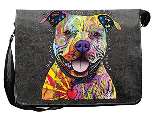 Pitbull/Umhängetasche/Tasche-Vintagelook mit Dog-Neon-Druck: Beware Of Pit Bulls für Hundefreunde