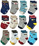 Deluxe Non Skid Anti Slip Slipper Cotton Crew Dress Socks with Grips for Baby Toddlers Kids Boys (9-18 Months, 12 designs/RB-71112)