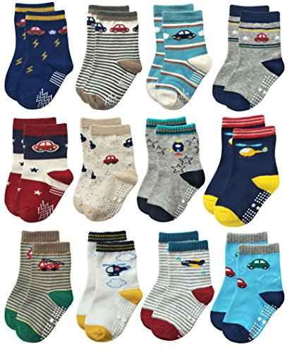 (Deluxe Non Skid Anti Slip Slipper Cotton Crew Dress Socks with Grips for Baby Toddlers Kids Boys (9-18 Months, 12 designs/RB-71112))