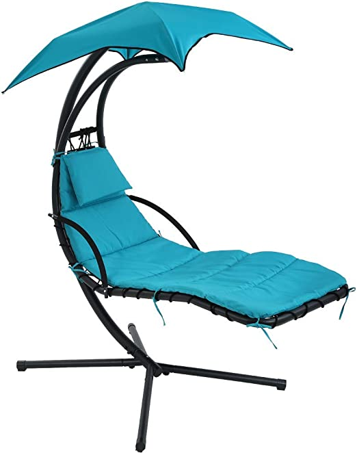 Amazon Com Patio Chair Hanging Chaise Lounger Chair Floating Chaise Canopy Swing Lounge Chair Hammock Arc Stand Air Porch Stand For Outdoor Indoor Kitchen Dining
