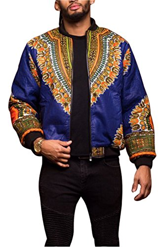 MarcoJudy Men's Casual African Print Front Zipper Dashiki Short Bomber Jacket Coat with - Short Mens Bomber