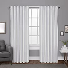Exclusive Home Curtains Zeus Solid Textured Jacquard with Blackout Liner Hidden Tab Window Curtain Panel Pair , Winter White, 52x84