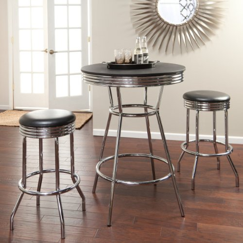Roundhill Furniture Retro Style 3-Piece Chrome Metal Bar Table and Stools - 3 Piece Retro Soda