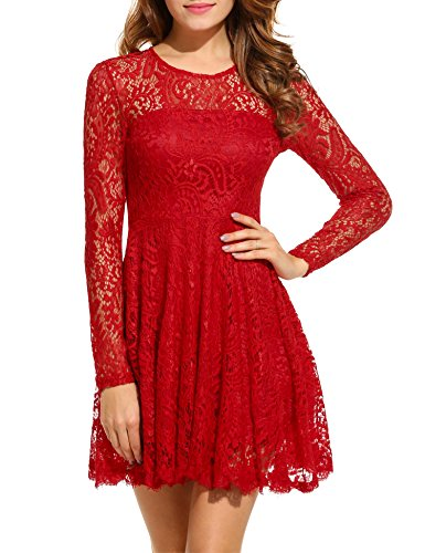 ANGVNS Women Vintage A-Line Long Sleeve Eyelash Lace Brim Backless Swing Dress, Red, XL