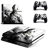 MightyStickers® PS4 Wrap Skin Game Console + 2 Controller Decal Vinyl Protective Covers Stickers Sony PlayStation 4 - DC Comics Batman Arkham Dark Knight Trilogy VS Joker Card Smile Serious Returns#11