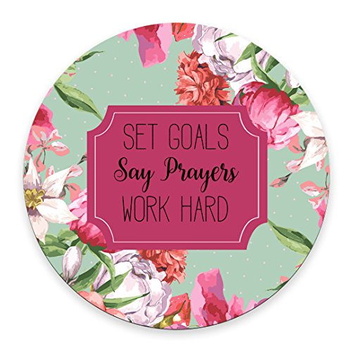 Set Goals Say Prayers Work Hard Floral Mouse Pad - Neoprene Inspirational Quote Mousepad - Round Mouse pad