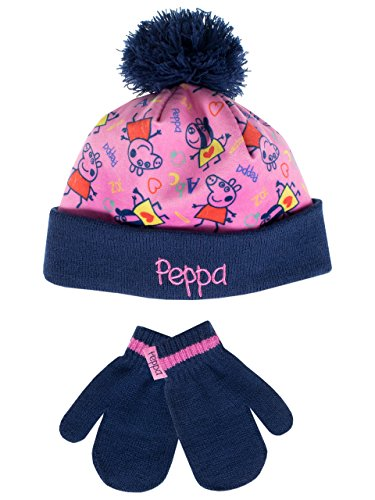 Peppa Pig Girls Hat and Gloves Set Multicolored One -