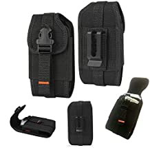 Rugged Vertical Heavy Duty Tactical Locking Wallet Case with Belt Loop fits Samsung Galaxy S5, S5 Active with Otterbox Defender Case on it. Rotates 360 degrees and has quick release button.