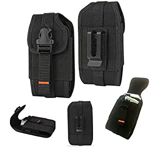 Rugged Vertical Heavy Duty Tactical Locking Wallet Case with Belt Loop fits Asus Padfone X mini.