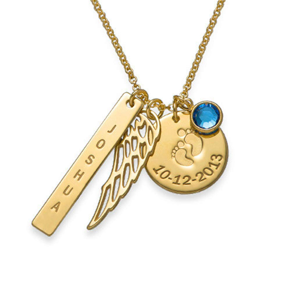 Wing SADNESS N Initial Pendant Necklaces,Disc Personalized Name Date of Birth Dainty Handmade Pendant Necklaces