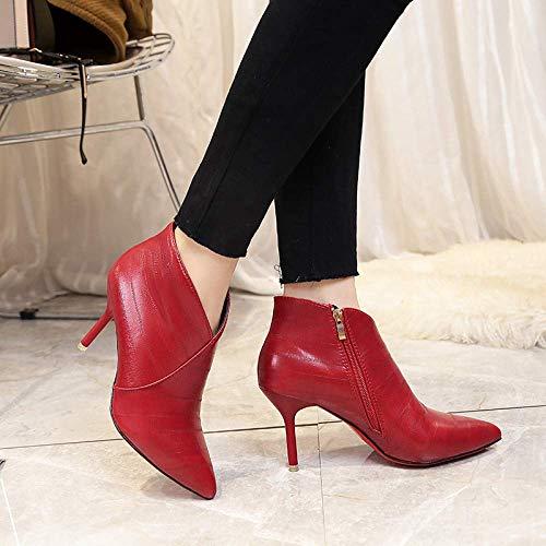 imperméables automne pour avec noir martelées hauts 38 rouge talons 6 Fuxitoggo femme taille bottillons sauvages cm 8 à bottes chaussures coréen couleur WqI8WwYa
