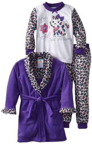 Baby Bunz Little Girls'  Purrfect 3 Piece  Pajama Set