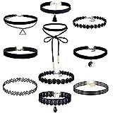 10-Stck-Choker-Halsketten-Set-Velvet-Spitze-Tattoo-Halsketten-Stretch-Elastische-Tassel-Ketten-Schwarz