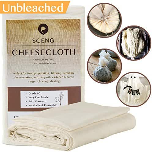 Cheesecloth, Grade 90, 36 Sq Feet, Reusable, 100% Unbleached Cotton Fabric, Ultra Fine Cheesecloth for Cooking - Nut Milk Bag, Strainer, Filter